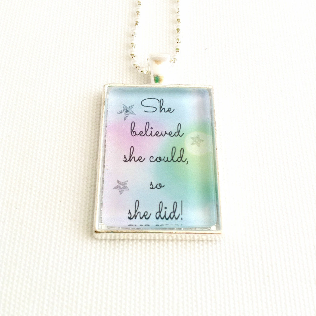 positive quote pendant, inspirational jewellery, empowering necklace