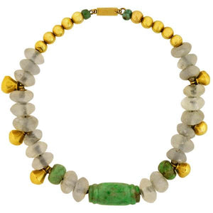 SPRATLING Rare Vintage Ancient Mayan Jade + Rock Crystal Beaded Necklace