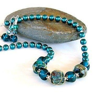 "The Deep: 18"" Teal Necklace Set"