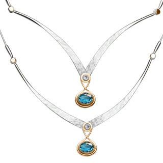 Silver & 14kt Gold Gemstone Kauai Necklace