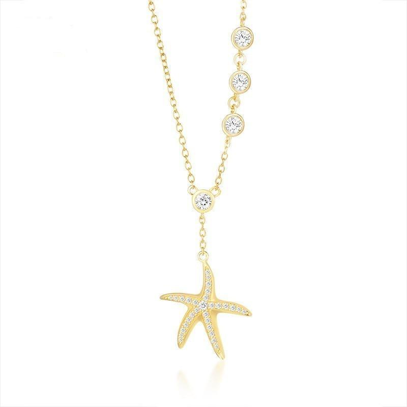 Fashion Starfish Necklaces for Women Gold Tone 925 Sterling Silver collar femenino Gifts