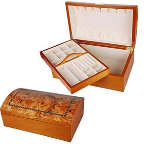 """Andra"" Large Chest Style Wooden Jewellery Box with ""Oriental Rose"" Design"