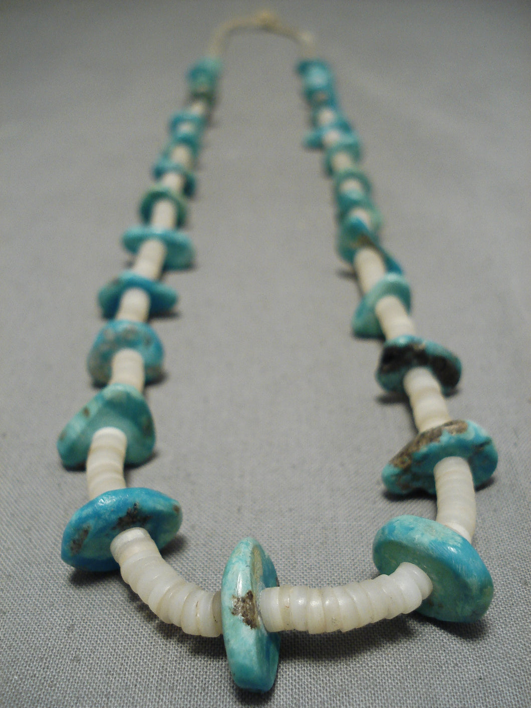 Early 1900's Vintage Native American Navajo Santo Domingo Shell Turquoise Necklace Old