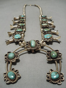 Heavy!! Vintage Native American Navajo Royston Turquoise Sterling Silver Squash Blossom Necklace