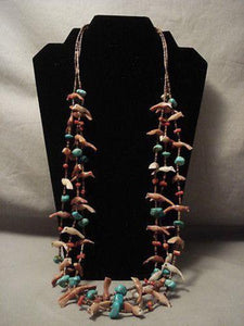 EARLIER VINTAGE SANTO DOMINGO TURQUOISE SHELL FETISH SILVER NECKLACE OLD