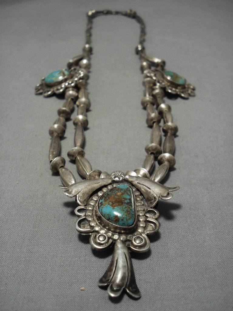 Early 1900's Vintage Native American Navajo Turquoise Sterling Silver Necklace