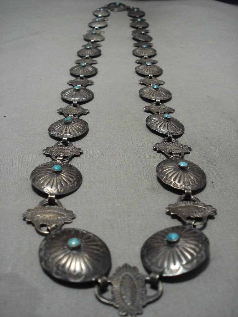 Early 1900's Vintage Navajo Snake Eyes Turquoise Native American Jewelry Silver Necklace/ Concho Belt