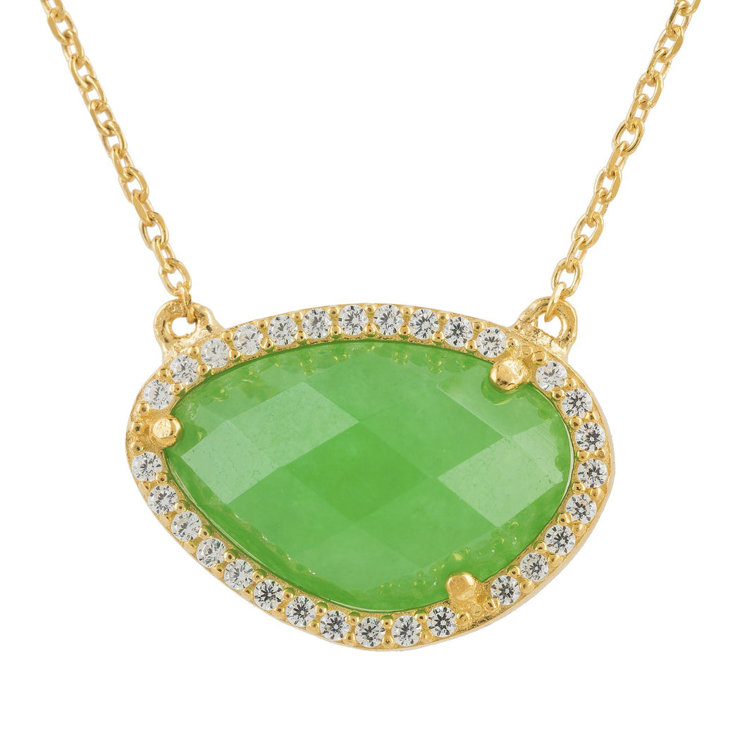 Sofia Green Onyx Gemstone Necklace Gold