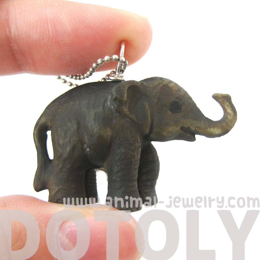 Standing Elephant Porcelain Ceramic Animal Pendant Necklace | Handmade