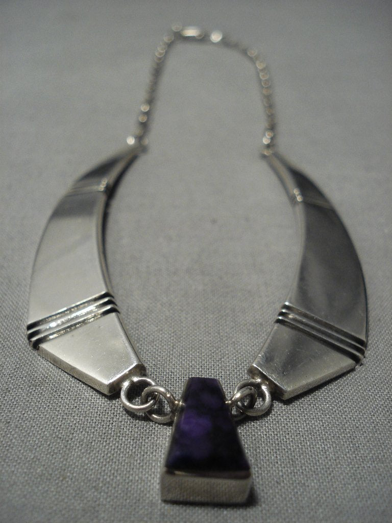 Fabulous Vintage Native American Jewelry Navajo Amethyst Sterling Silver Necklace Old