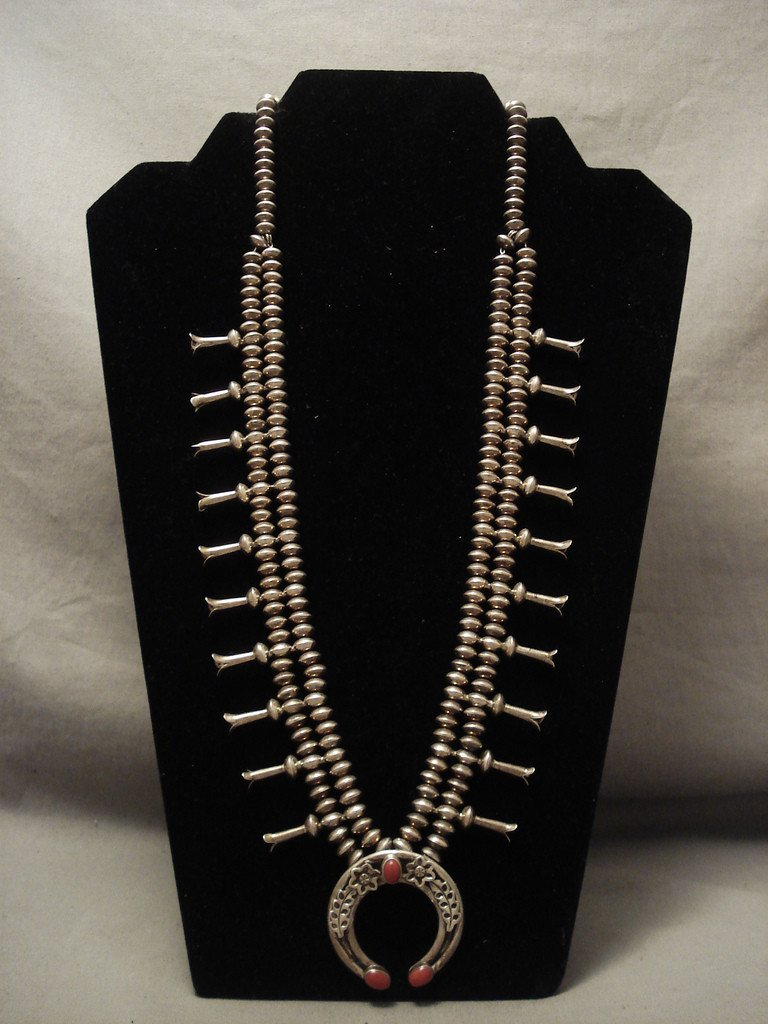 Fabulous Vintage Navajo Coral Chunk Sterling Native American Jewelry Silver Squash Blossom Necklace