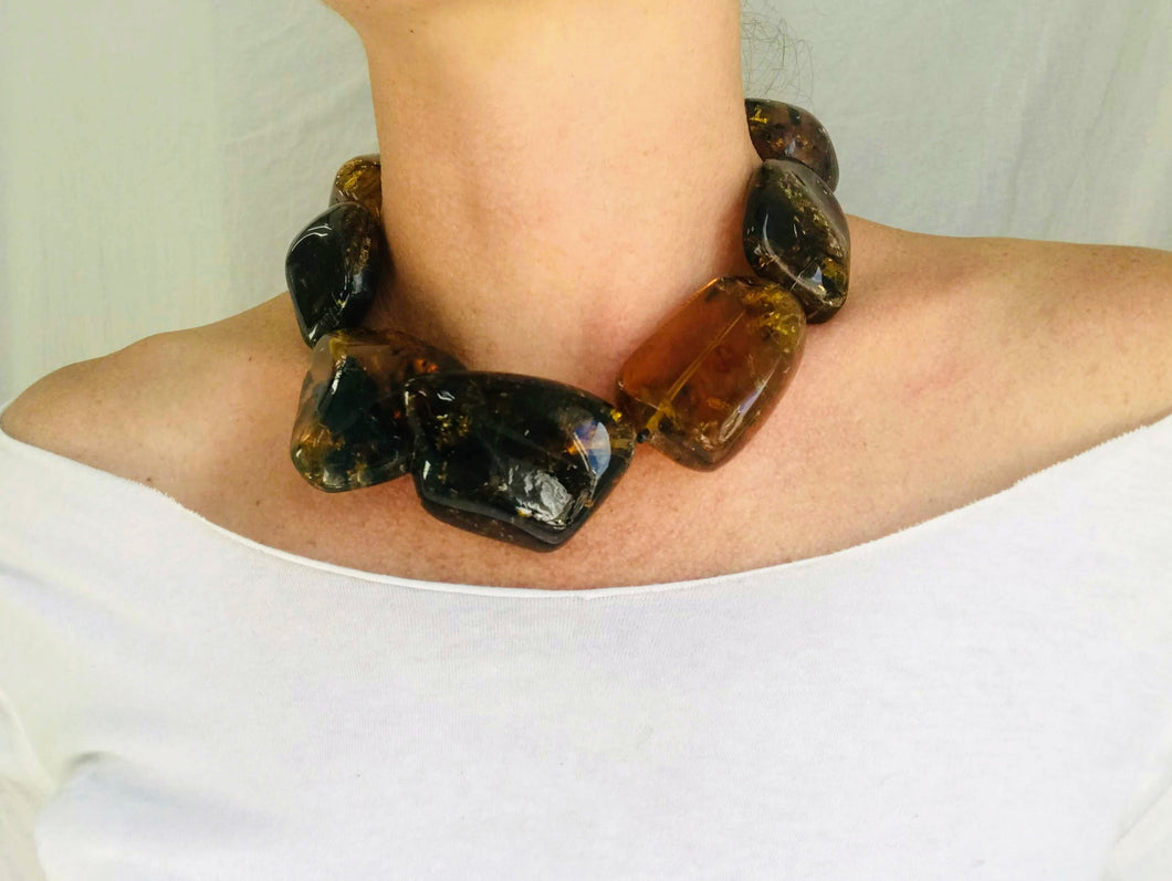 Large Amber Natural Nugget Beaded Choker Necklace. Mexican Amber.