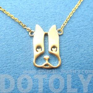 French Bulldog Face Shaped Cut Out Pendant Necklace in Gold | Animal Jewelry