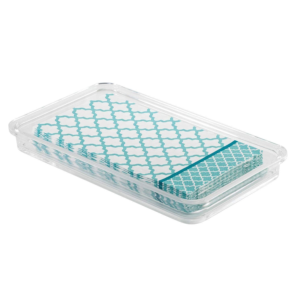 iDesign Clarity Plastic Guest Towel Tray, Non-Slip Vanity Board for Bathroom, Kitchen, Office, Craft Room, Countertops, 9.7