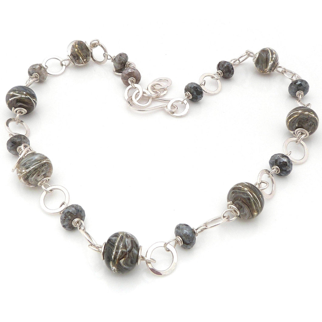 Grey Lampwork, Sterling Silver and Silverite Necklace ~ Stormy Skies ~