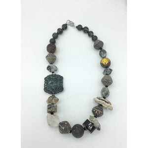 Organic Beads with Vintage Elements Necklace