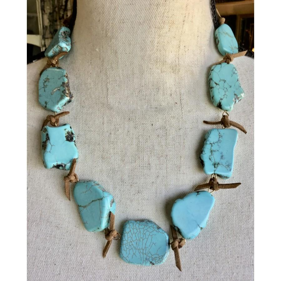 Organic Turquoise with Leather Necklace