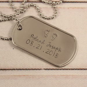 New Dad, Baby feet - Personalized, Dog Tag Necklace / keychain