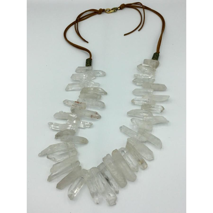 Organic Crystal and Leather Necklace