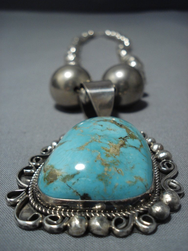 Gigantic Vintage Navajo Hand Hammered Native American Jewelry Silver Royston Turquoise Necklace