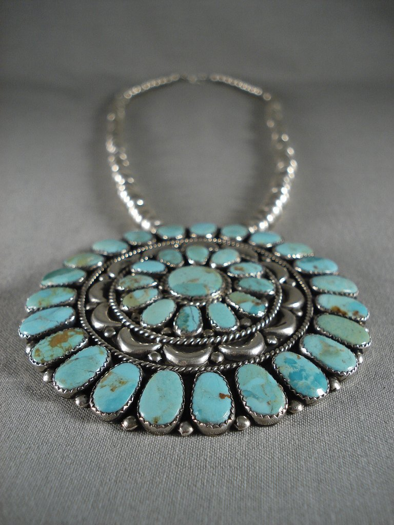 Gigantic Vintage Navajo Turquoise Native American Jewelry Silver Pendant Pin Necklace