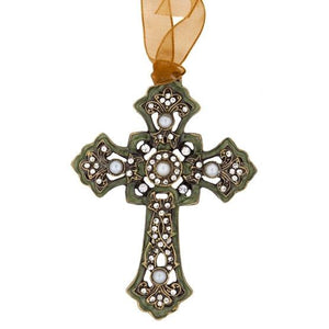 Gothic Green Pearl Cross with Ribbon