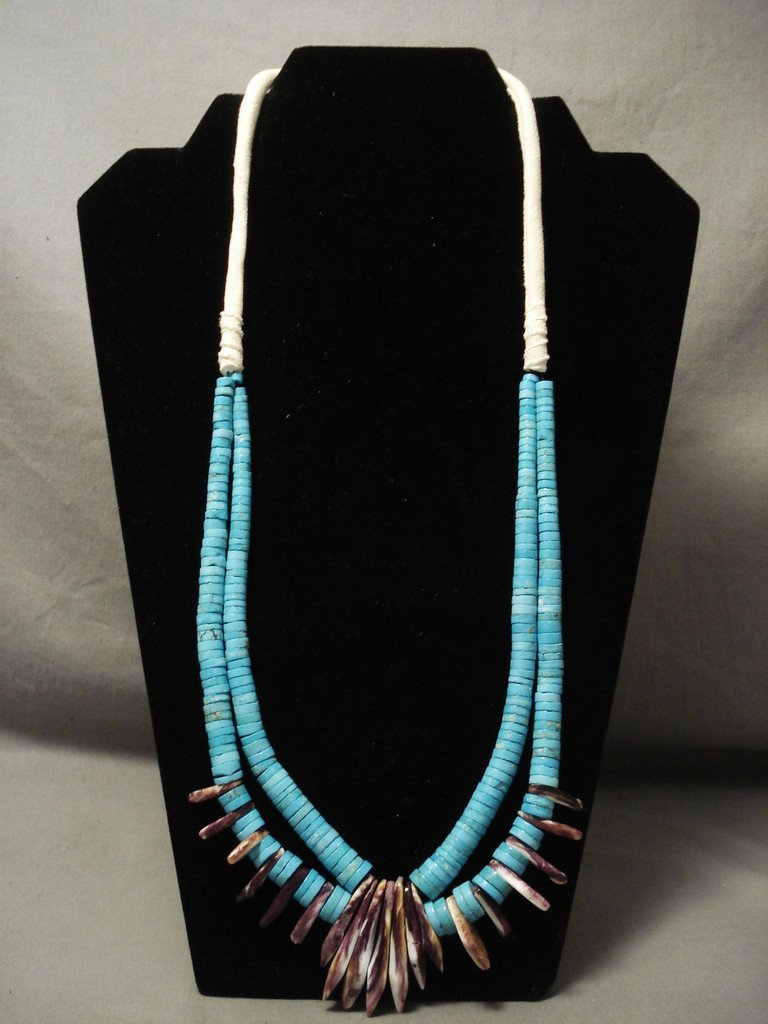 Graduating Tuquoise Spiny Oyster Tooth Shell Navajo Native American Jewelry jewelry Necklace