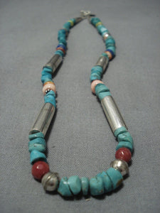 Guaranteed Authentic Vintage Native American Jewelry Navajo Thomas Singer Turquoise Silver Necklace