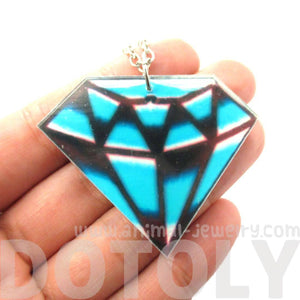 Hand Drawn Blue Diamond Shaped Illustrated Acrylic Pendant Necklace