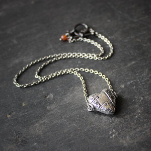 Survivor's Heart.  Rustic Pewter Heart Necklace.