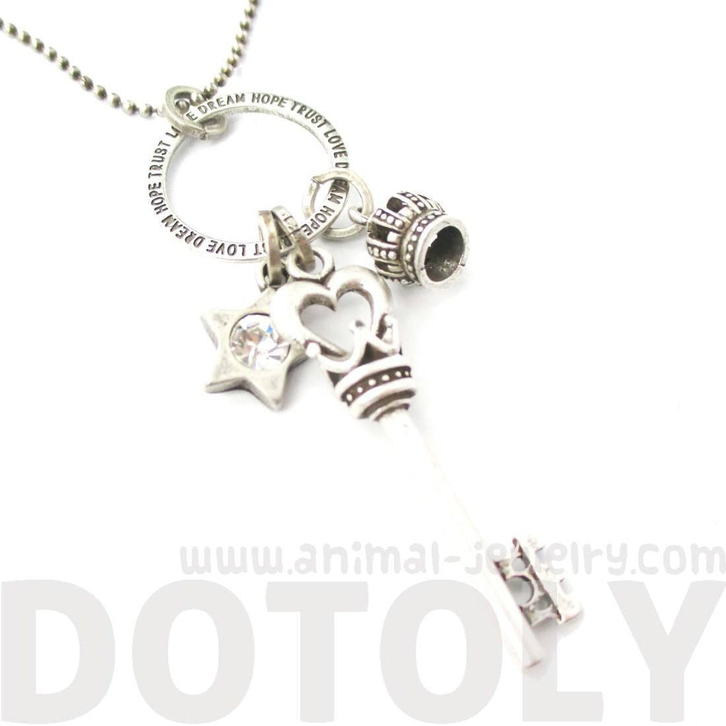 Heart Shaped Skeleton Key Crown and Star Shaped Charm Necklace in Silver | DOTOLY