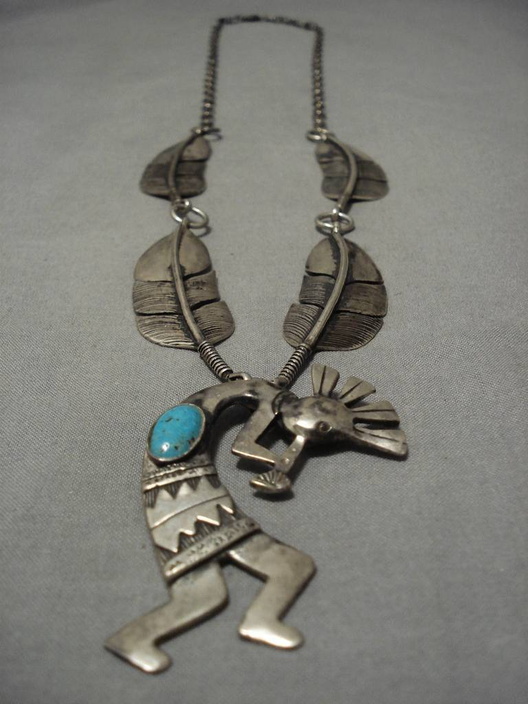 Heavier Detailed!! Vintage Native American Navajo Feather Sterling Silver Turquoise Necklace Old