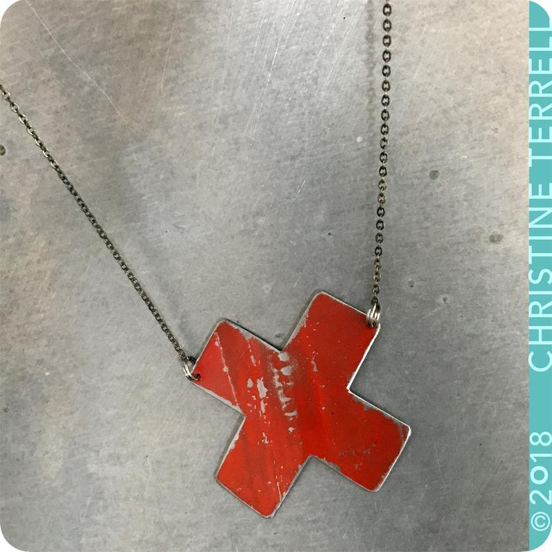 Red X Roman Numeral 10 Upcycled Tin Necklace Tin Anniversary Gift