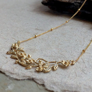 Flowers necklace, botanical pendant, Bridal necklace, unique solid gold necklace, floral pendant, botanical necklace - Boundless love NG2010