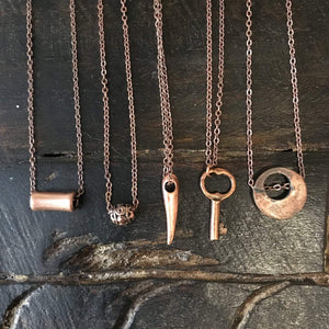 Minimalist necklace, dainty pendant necklace, Copper charm necklace, Layering Necklace, Gift for her, key, bead, bar, tube - AFN100 1-5