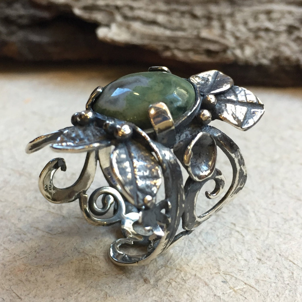 Green jasper statement silver gold leaves ring - To the end of love R1702-1