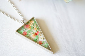 Real Pressed Flower and Resin Necklace Silver Triangle in Green Pink and Orange