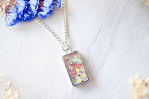 Real Pressed Flowers in Resin Necklace in Pink Pastel Mix
