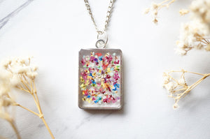 Real Dried Flowers in Resin Necklace, Silver Square in Party Mix