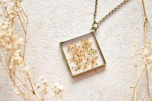 Real Dried Flowers and Resin Necklace, Diamond Orange Mix