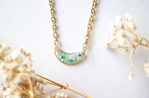 Real Dried Flowers in Resin Necklace, Gold Half Moon in Teal Mint White