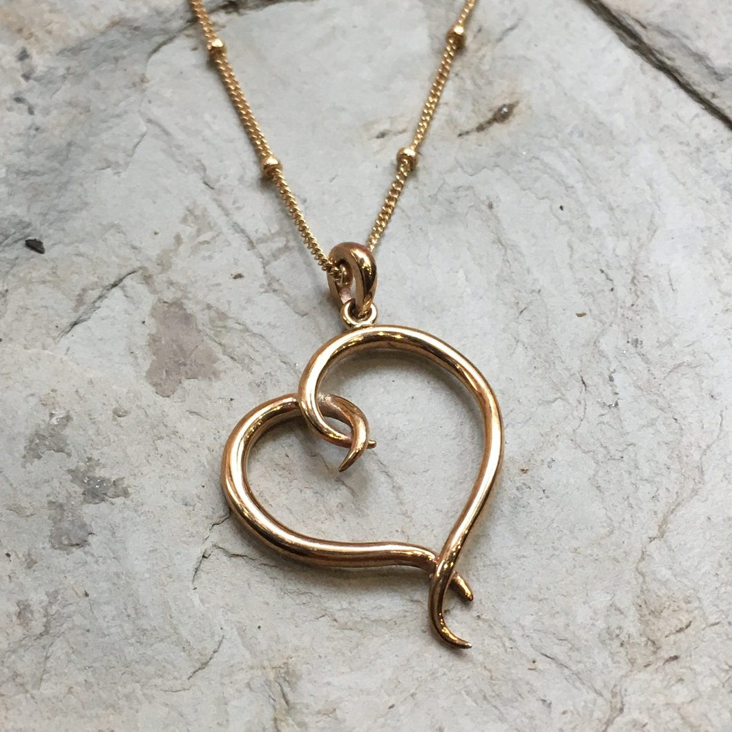Heart necklace, valentines necklace, Gold necklace, Dainty pendant, Layering Necklace, golden brass casual necklace, Gift for her - N2073