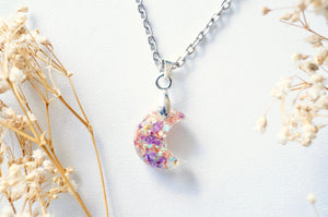 Real Pressed Flowers in Moon Resin Necklace in Purples, Yellows, Mint and White with Rose Gold Flakes