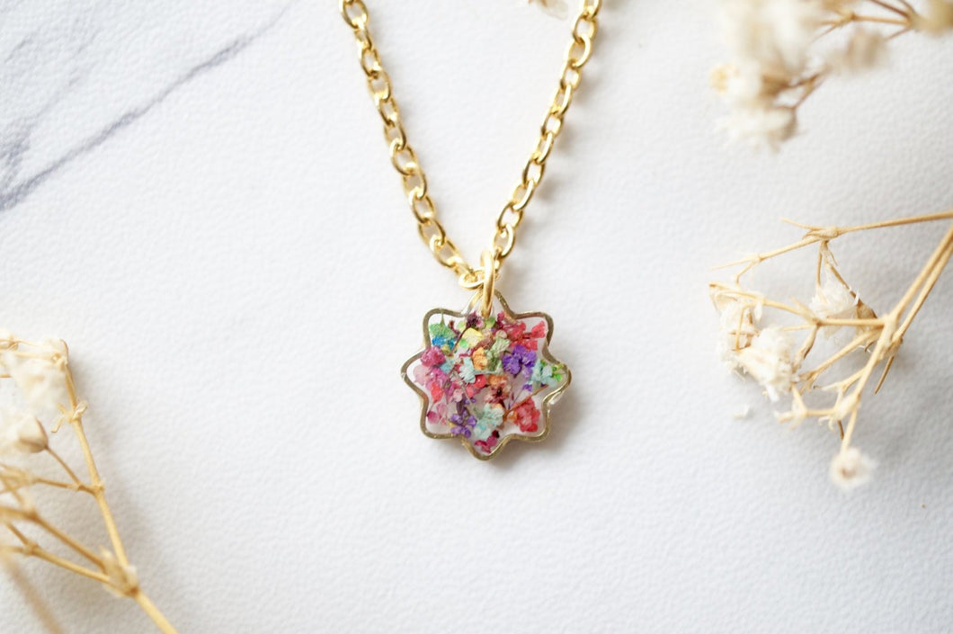 Real Dried Flowers and Resin Necklace, Tiny Gold Flower in Party Mix