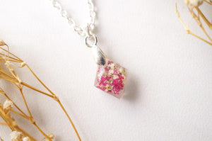Real Pressed Flowers in Diamond Resin Necklace in Pinks and White