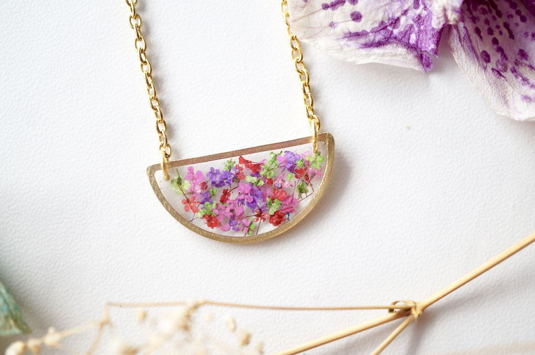 Real Dried Flowers in Resin Necklace, Half Circle in Purple Red Purple Green