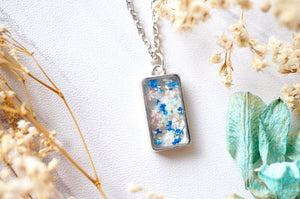 Real Pressed Flowers in Resin Necklace, Silver Rectangle in Pink Mint Blue