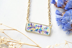 Real Dried Flowers and Resin Necklace, Gold Bar in Purple Yellow Blue