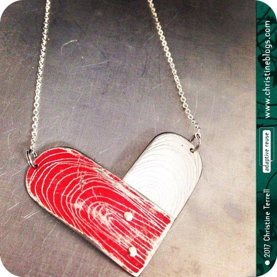 Etched Tin Heart Recycled Necklace