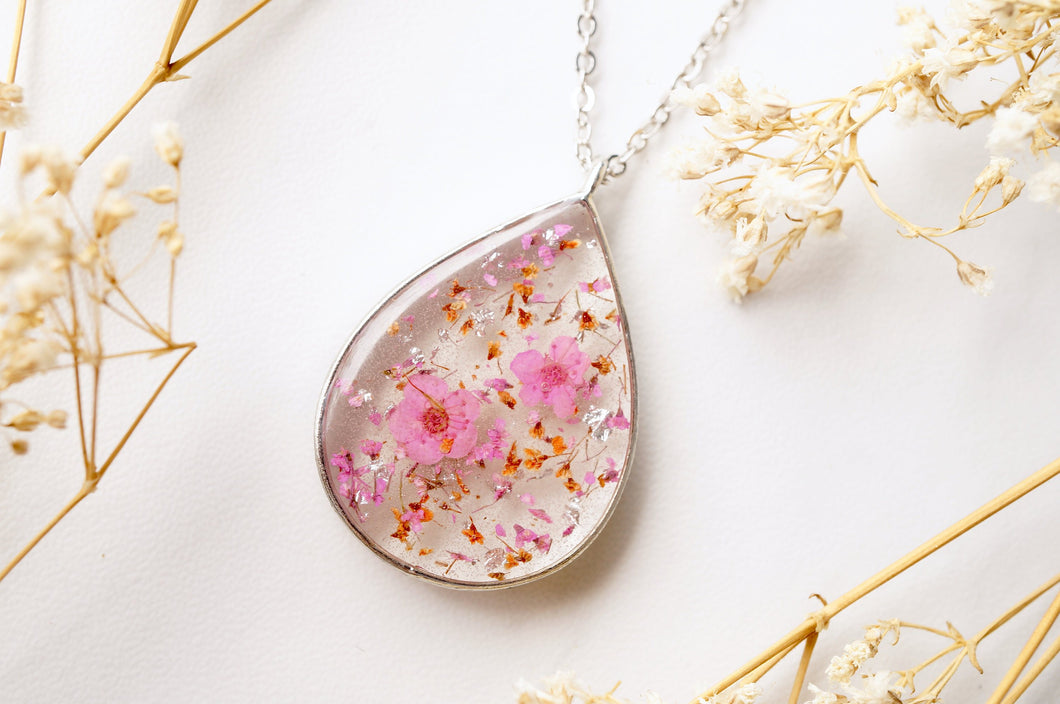 Real Dried Flowers and Resin Necklace, Silver Teardrop in Pink Orange and Silver Foil